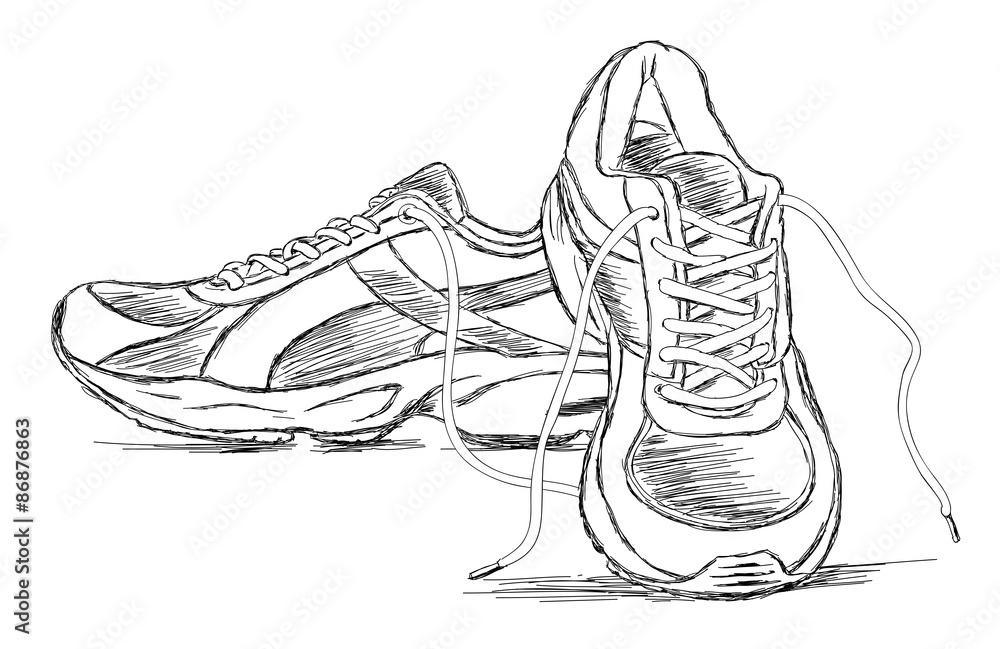 Turnschuh Handgemachter Schuh Skizzen Sport Vektor AL4R53j