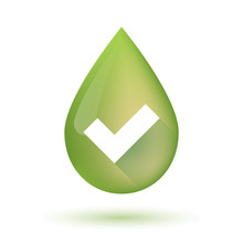 Olive Oil Drop Icon With A Check Mark