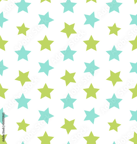 fototapeta na drzwi i meble Seamless Texture with Colorful Stars, Elegance Kid Pattern
