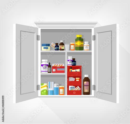 Cupboard with medicines. Vector flat illustration Canvas Print