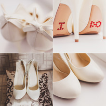 Collage Of White Wedding Bridal Shoes With A Bow