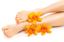 Relaxing Pedicure With A Orange Lily Flower
