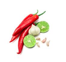 Red Chili , Garlic And Lime Lemon Arrange On White Background