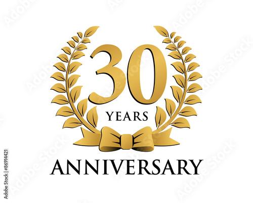 Photo  anniversary logo ribbon wreath 30