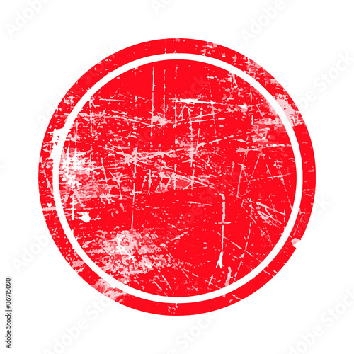 Photo  red circle grunge stamp with blank isolated on white background.