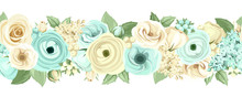 Horizontal Seamless Background With Blue And White Flowers. Vector Illustration.