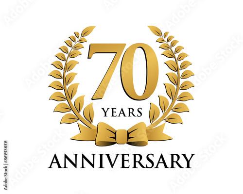 Obraz na plátně  anniversary logo ribbon wreath 70