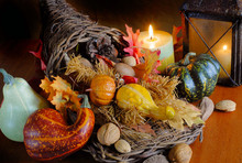 Thanksgiving Still Life With Cornucopeia And Candles