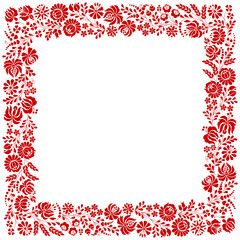 Obraz na Szkle Folklor Square frame made from Hungarian embroidery pattern