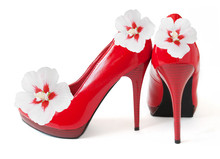 Red Shoes With Flowers Isolated On White Background