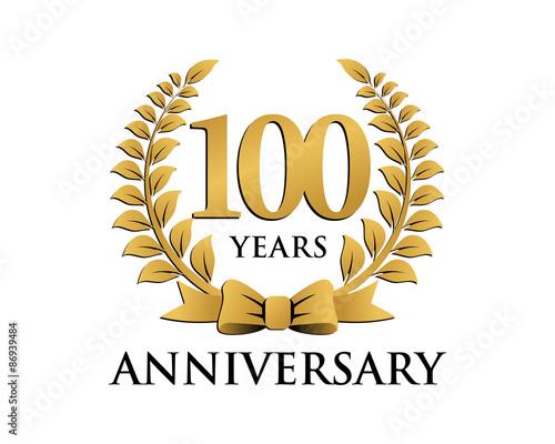 Fotografía anniversary logo ribbon wreath 100