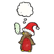 Funny Christmas Robin Cartoon