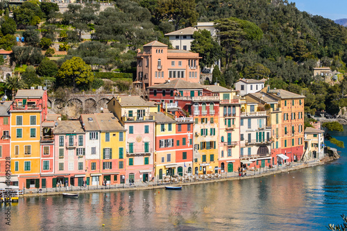 Poster Ligurie Beautiful panoramic view of the nature and the town Portofino, Italy