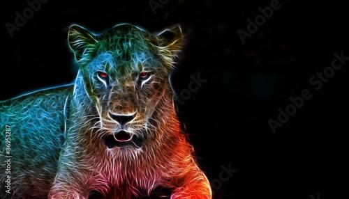 Fotografie, Obraz  Digital fantasy art of a lioness