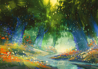 Fototapeta Las mystic blue and green forest with a fantasy atmosphere,illustration painting