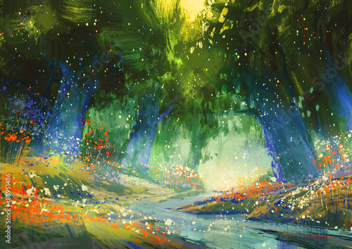 Canvas Print mystic blue and green forest with a fantasy atmosphere,illustration painting