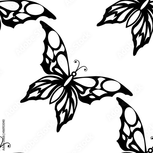 Stickers pour portes Hibou Seamless white background with black butterflies