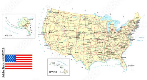 USA - detailed map - illustration Wallpaper Mural