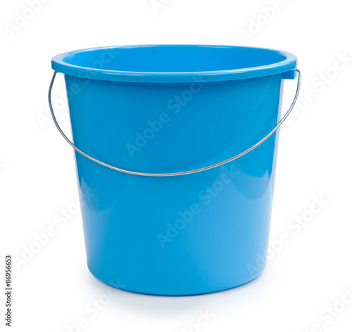 Blue bucket plastic isolated on white Wall mural