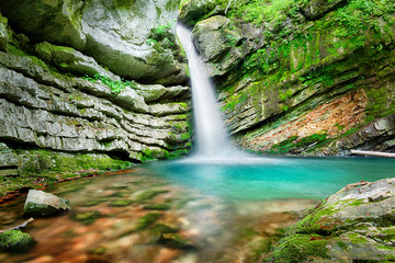 Fototapeta Magic waterfall in Slovenia