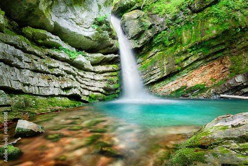 Tuinposter Watervallen Magic waterfall in Slovenia