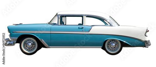 Foto op Canvas Vintage cars Aqua Bel-Air Vintage Automobile against White Background