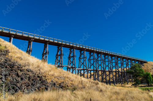 Historic Nimmons Bridge, a disused timber railway trestle bridge, near Ballarat Canvas-taulu