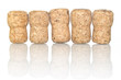 row of champagne corks