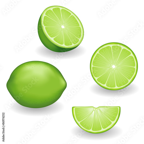 Valokuvatapetti Limes, fresh, natural, organic fruit, whole, half, slice, wedge, isolated on whi