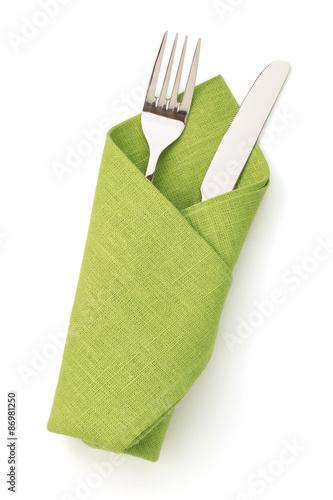 Fotografie, Obraz  napkin, fork and knife isolated on white