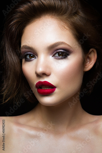 Fotografie, Obraz  Beautiful young model with red lips