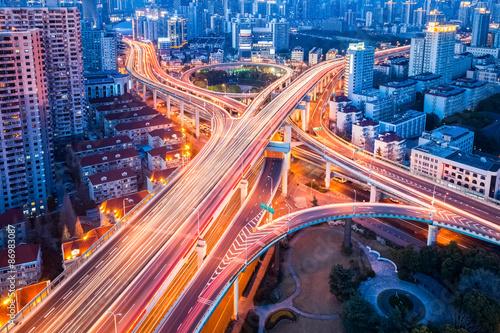 Fotobehang Nacht snelweg overpass closeup at night