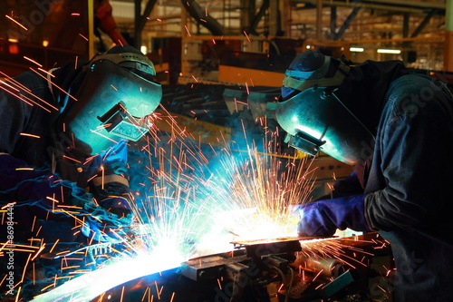 Fotografie, Obraz  The working in Welding skill up use in product part automotiv