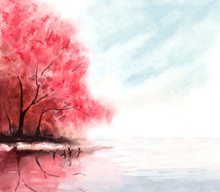 Watercolor Autumn Background With Red Trees And Lake Water