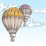 Balonów na ogrzane powietrze w tle retro błękitne niebo - 86986617