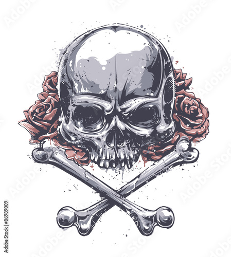 Canvas Prints Watercolor Skull Grunge Skull