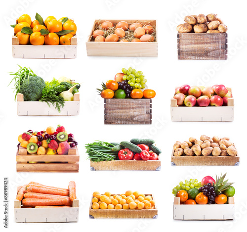 Poster Fruit set of various fruits and vegetables