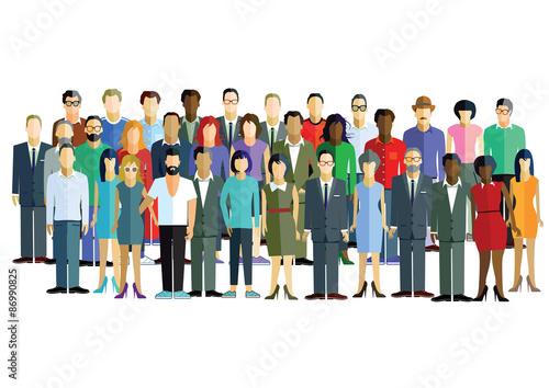 große Gruppe von Männern und Frauen. Canvas Print