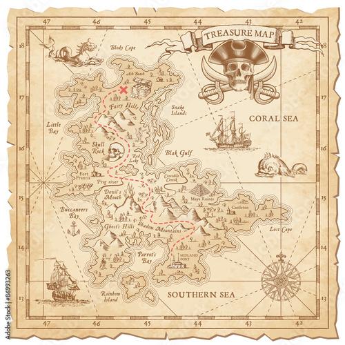 Fotografie, Obraz  Hi detail Vector Treasure Map