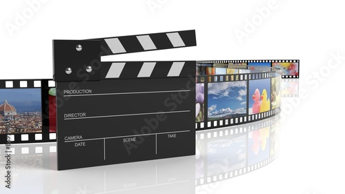Photo Clapperboard and filmstrip with pictures isolated on white background