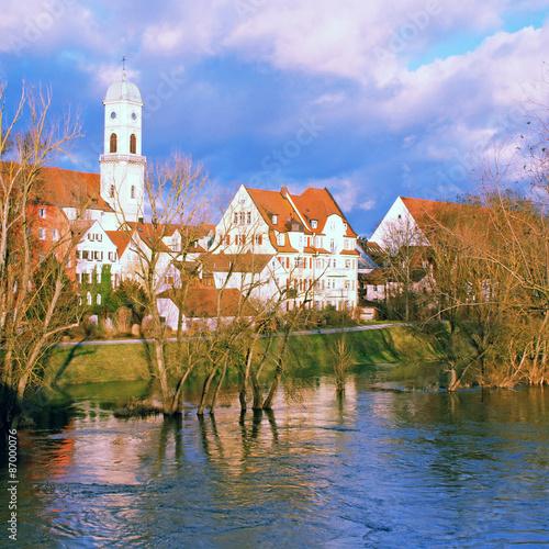 Poster Brugge Regensburg and Danube river, Bavaria, Germany