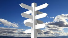 Blank White Signpost On Blue S...