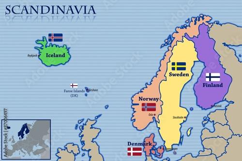 Fotografie, Obraz  Location, Map and Flags of Scandinavia