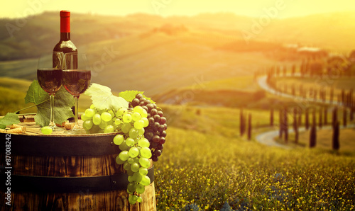 Fotografiet Red wine with barrel on vineyard in green Tuscany, Italy