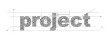 PROJECT Technical Lettering Vector Icon