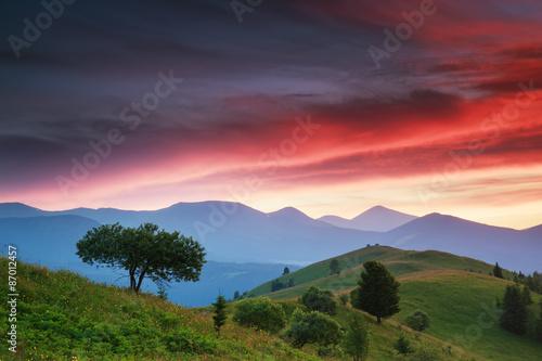 Obraz evening mountain plateau landscape - fototapety do salonu