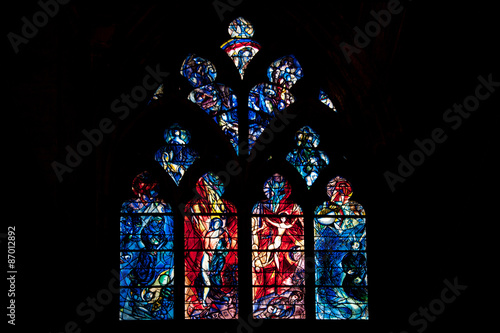 Stained glass in Saint Etienne de Metz Cathedral, France Wallpaper Mural
