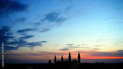 Vászonkép Dusk scene of Cambridge, UK. Skyline shows Kings College Chapel