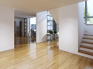 Bright modern corridor with stairs