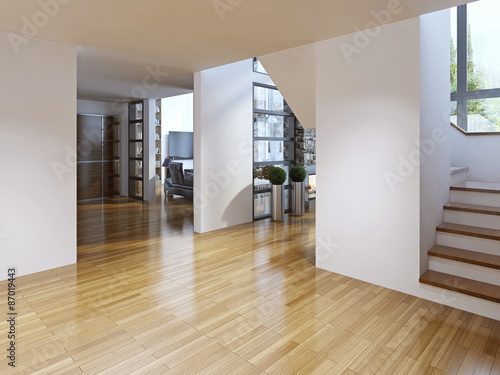 Fotografie, Tablou  Bright modern corridor with stairs